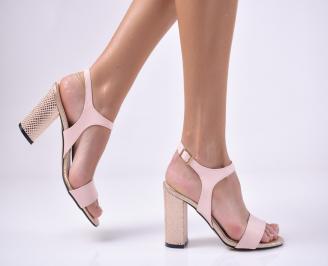 Дамски елегантни сандали еко кожа пудра KEYA-1013735