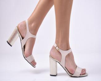 Дамски елегантни сандали еко кожа пудра YVQF-1013755