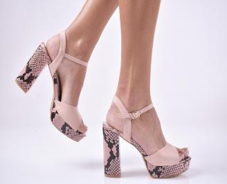 Дамски елегантни сандали велур пудра WTON-1013879