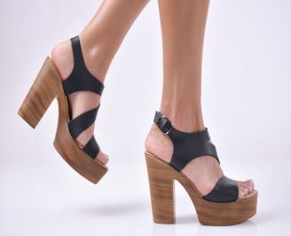 Дамски елегантни сандали естествена кожа черни. GKJE-1013937