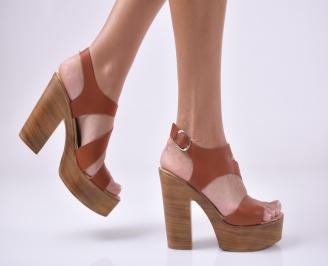 Дамски елегантни сандали естествена кожа кафяви. TGCN-1013938