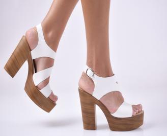 Дамски елегантни сандали естествена кожа бели. WFXI-1013939