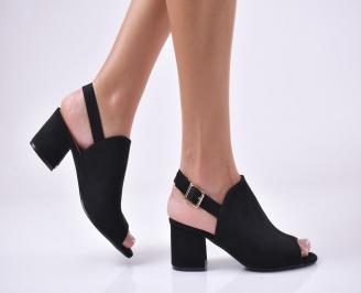 Дамски елегантни сандали еко велур черни MGQT-1013942