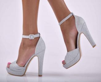 Дамски елегантни сандали ситен брокат сребристи  ICOS-1015877