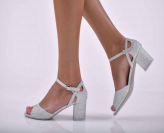 Дамски елегантни сандали ситен брокат сребристи  EUUV-1015882