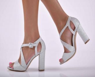 Дамски елегантни сандали ситен брокат сребристи  KAHW-1015885