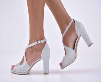Дамски елегантни сандали ситен брокат сребристи  SMOI-1015887