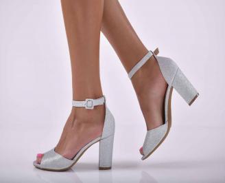 Дамски елегантни сандали ситен брокат сребристи  HZPI-1015888