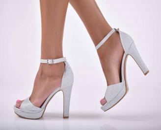 Дамски елегантни сандали сребристи  YQNG-1015889