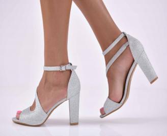 Дамски елегантни сандали сребристи  DOZB-1015896