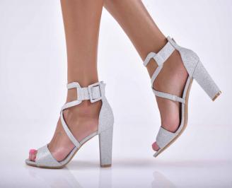 Дамски елегантни сандали сребристи  FEKG-1015897