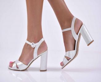 Дамски елегантни сандали сребристи  BRWC-1015901