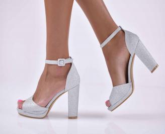 Дамски елегантни сандали сребристи  VVCY-1015902