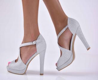 Дамски елегантни сандали сребристи  IQRQ-1015903