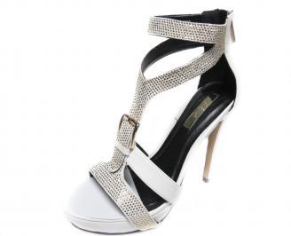 Дамски елегантни сандали на ток еко кожа бели ENHH-20830