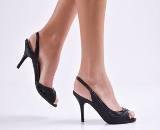 Дамски елегантни сандали текстил черни LGIU-20832
