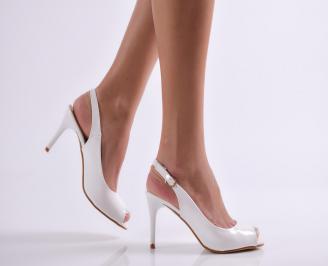 Дамски елегантни сандали еко кожа/лак бели SHZS-20979