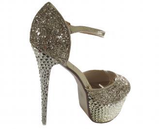 Дамски елегантни сандали текстил златисти PXNW-21332