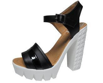 Дамски елегантни сандали еко кожа черни EYWG-21573
