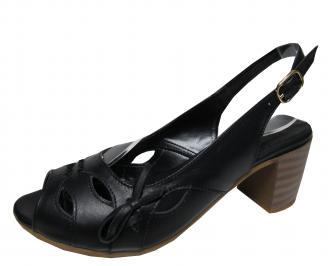 Дамски елегантни сандали  естествена кожа черни GOWR-21587