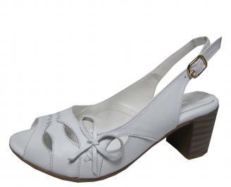 Дамски елегантни сандали  естествена кожа бели UMUN-21592