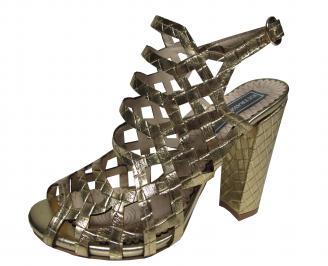 Дамски елегантни сандали еко кожа златисти QKQC-21713