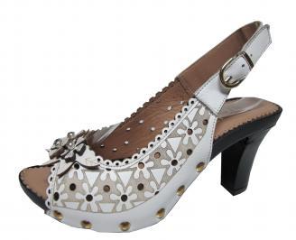 Дамски елегантни сандали на ток еко кожа бели YZRS-21714