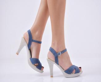 Дамски елегантни сандали текстил сини QWWR-21784