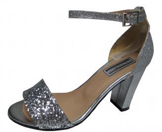 Дамски елегантни сандали еко кожа сребристи ICUQ-21785