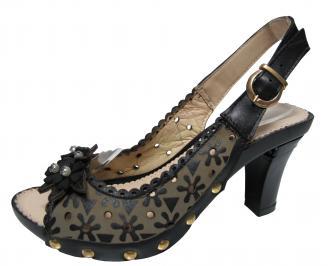 Дамски елегантни сандали на ток еко кожа черни FJHB-21825