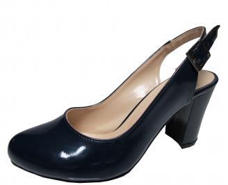 Дамски елегантни сандали тъмно сини  еко кожа/лак LXCE-21836