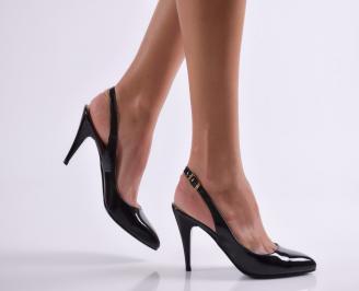 Дамски елегантни сандали черни еко кожа/лак KTVJ-21838