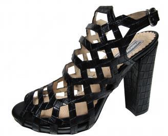 Дамски елегантни сандали черни еко кожа QGVQ-21845