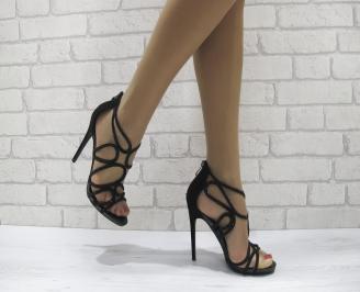 Дамски елегантни сандали на ток черни IPWL-22806