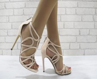 Дамски елегантни сандали на ток бежови MSAH-22807