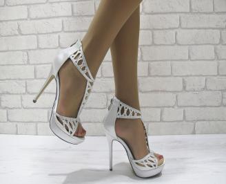 Дамски елегантни сандали  на ток сребристи PXZI-22808