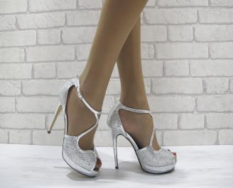 Дамски елегантни сандали на ток сребристи ZBHG-22813