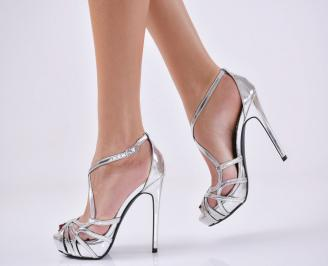 Дамски елегантни сандали  на ток сребристи IXVE-22815