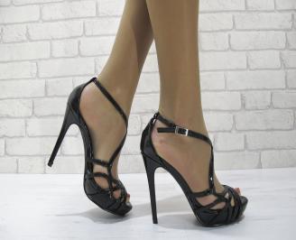 Дамски елегантни сандали  на ток черни UIHY-22816