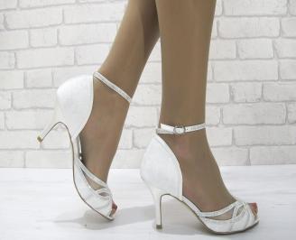 Дамски елегантни сандали  на ток бели IROP-22817