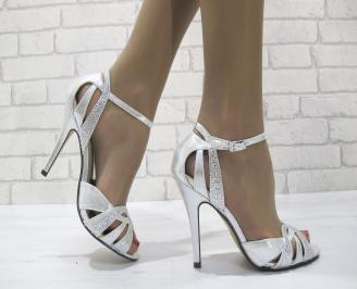 Дамски елегантни сандали  на ток сребристи MEWD-22818