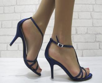 Дамски елегантни сандали на ток тъмно сини