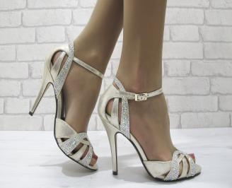Дамски елегантни сандали на ток златисти DTAS-22828