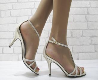 Дамски елегантни сандали на ток златисти IEST-22831