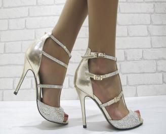 Дамски елегантни сандали на ток златисти BLKQ-22832