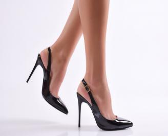 Дамски елегантни сандали черни еко кожа/лак BSOZ-23033