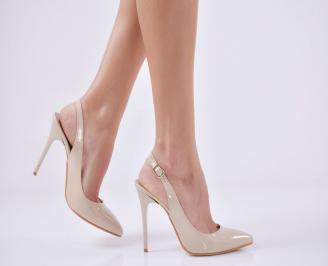 Дамски елегантни сандали бежови еко кожа/лак BFIM-23040