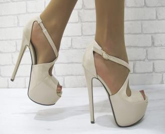 Дамски елегантни сандали еко кожа/лак бежови LZCQ-23092