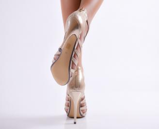 Дамски елегантни сандали текстил/сатен  златисти ZYJO-23103