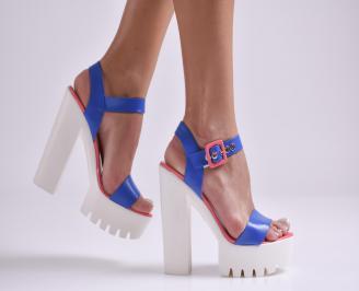 Дамски елегантни сандали на ток еко кожа/лак сини GWFC-23296